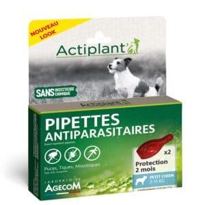 1 boîte de 2 pipettes, insectifuges chien 2-15 kg