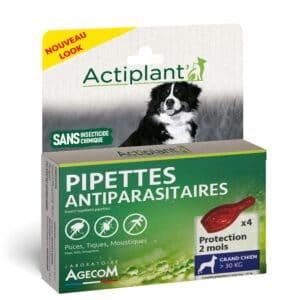 1 boîte de 4 pipettes insectifuges chien + 30 kg