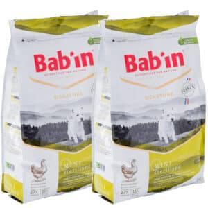 LOT DE 2 PAQUETS de 3 kg de croquettes chien stérilisé/ BAB'IN Mini Stérilised