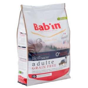 1 paquet de 12 kg de croquettes au canard, sans céréales chien adulte/ BAB'IN ADULTE GRAIN FREE