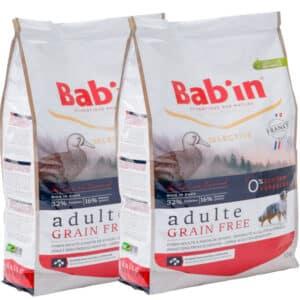 LOT DE 2 PAQUETS de 12 kg de croquettes au canard, sans céréales chien adulte/  BAB'IN ADULTE GRAIN FREE