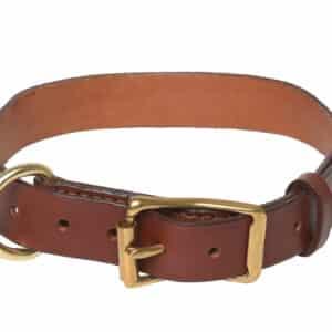 Collier cuir simple pour chien couleur CHATAIGNE