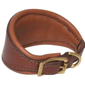 Collier cuir pour chien, doublé en cuir de veau, whippet, dressage, cousu, fabriqué à la main, artisanalement, en France, avec du cuir français, couleur châtaigne