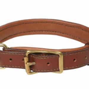 Collier cuir doublé veau pour chien CHÂTAIGNE.
