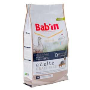 1 paquet de 12 kg de croquettes au poulet, sans céréales chien adulte/ BAB'IN ADULTE GRAIN FREE