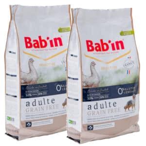 LOT DE 2 PAQUETS de 12 kg de croquettes au poulet, sans céréales chien adulte/  BAB'IN ADULTE GRAIN FREE