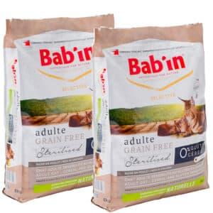 LOT DE 2 PAQUETS de 8 kg de croquettes chat adulte/ BAB'IN sans céréales