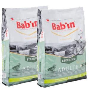 LOT DE 2 PAQUETS de 8 kg de croquettes chat adulte/BAB'IN CHAT au canard
