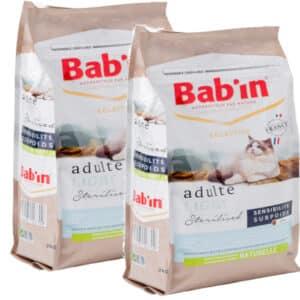 LOT DE 2 PAQUETS de 2 kg de croquettes pour chat/ BAB'IN  LIGHT