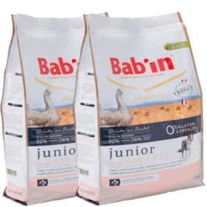LOT DE 2 PAQUETS de 12 kg de croquettes sans céréales pour chiot/ BAB'IN Junior Grain Free